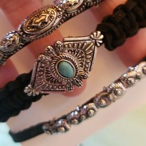 Jewelry - 3 pc Turq and Silver Color Cord & Leather Bracelet